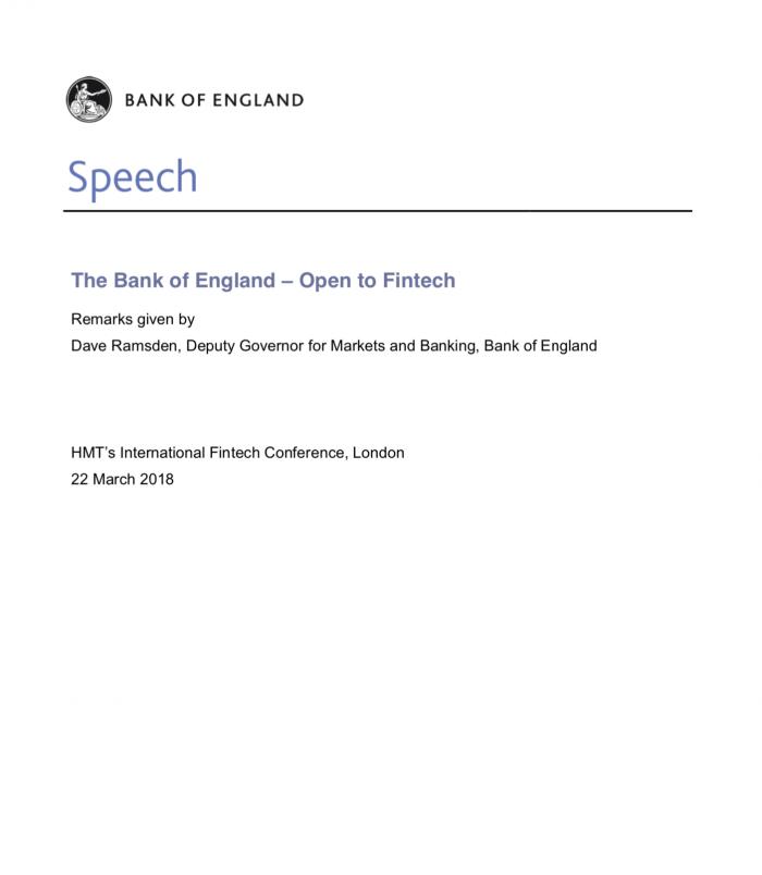 The Bank of England – Open to Fintech