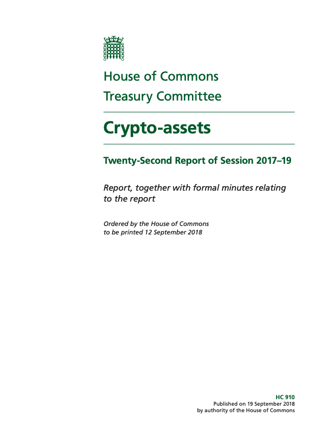 Crypto-assets: Twenty-Second Report of Session 2017–19